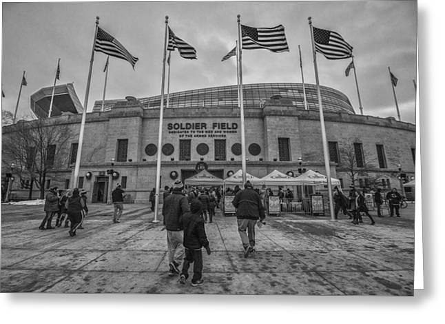 Chicago Bears Soldier Field Black White 7861 Greeting Card