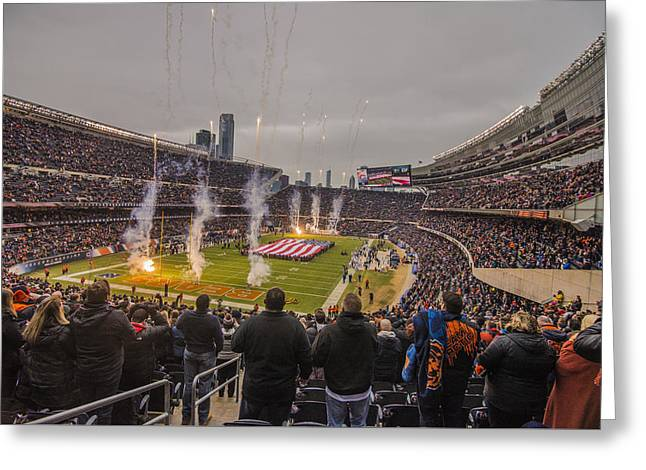 Chicago Bears Soldier Field National Anthem 7745 Greeting Card by David Haskett