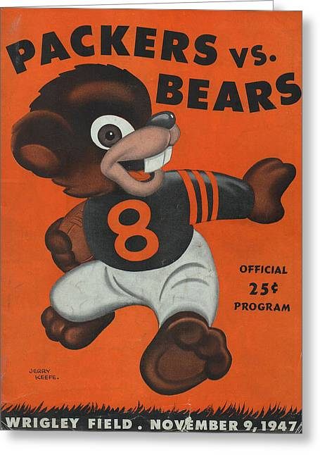 Chicago Bears Vintage Program 6 Greeting Card by Joe Hamilton