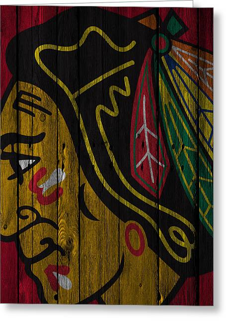 Chicago Blackhawks Wood Fence Greeting Card