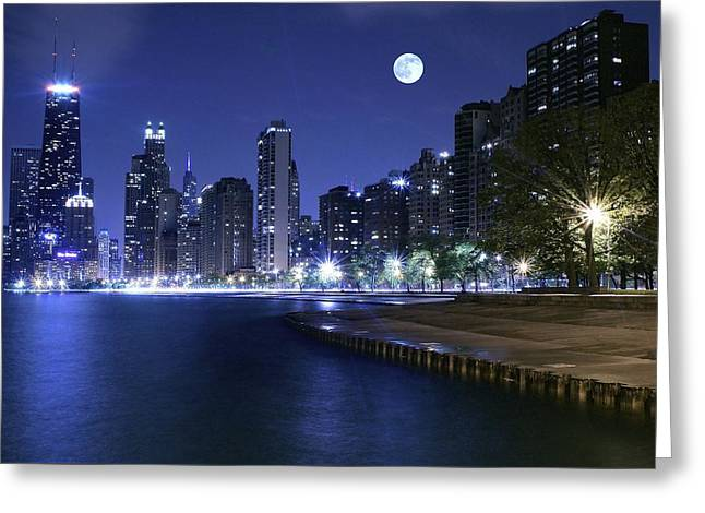 Chicago Blue Moon Greeting Card by Frozen in Time Fine Art Photography