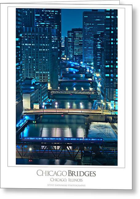 Chicago Bridges Poster Greeting Card by Steve Gadomski