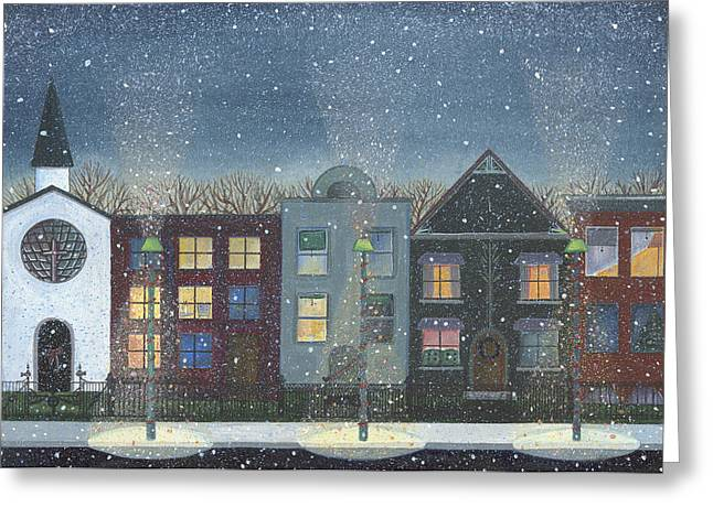 Christmas Art Greeting Cards - Chicago Brown Stones Greeting Card by Thomas Griffin