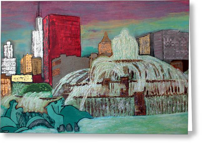 Magnificent Mile Mixed Media Greeting Cards - Chicago Buckingham Fountain Greeting Card by Char Swift