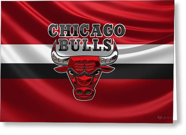 Chicago Bulls - 3 D Badge Over Flag Greeting Card