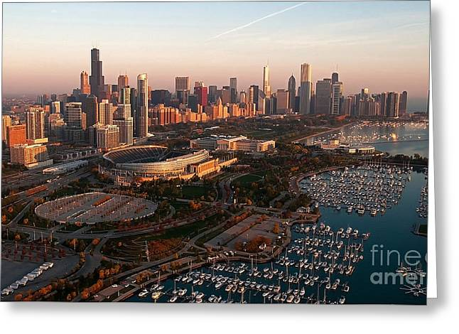 Chicago By Air Greeting Card by Jeff Lewis