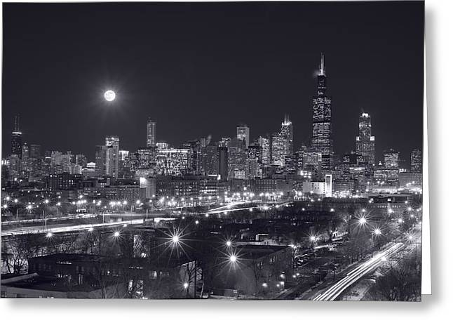 Full Moon Greeting Cards - Chicago By Night Greeting Card by Steve Gadomski