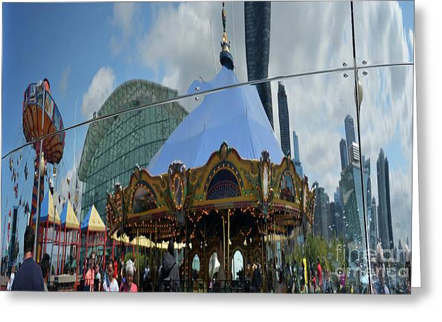 Chicago Carousel Greeting Card by Andrea Simon