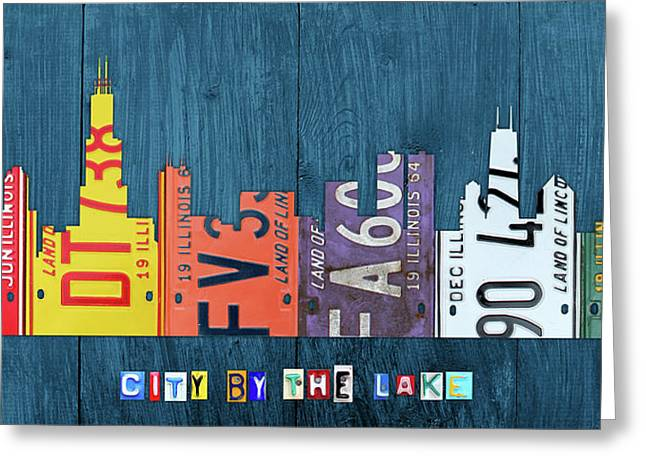 Chicago City By The Lake Recycled Vintage Skyline License Plate Art Greeting Card