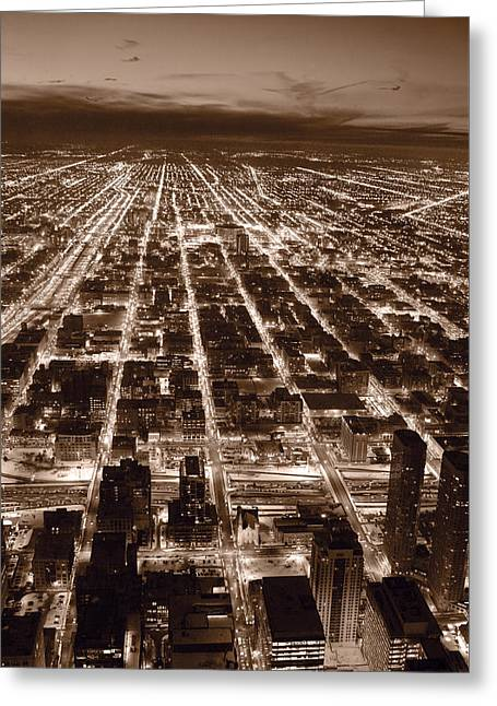 Chicago City Lights West B W Greeting Card by Steve Gadomski