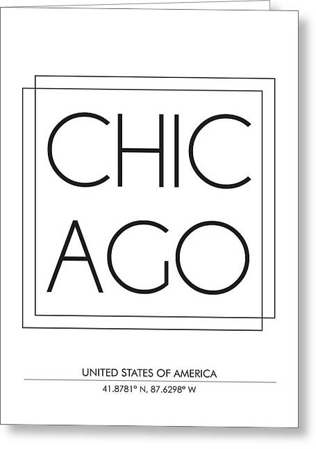 Chicago City Print With Coordinates Greeting Card