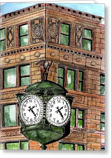 Chicago Clock Greeting Card by Paul Meinerth