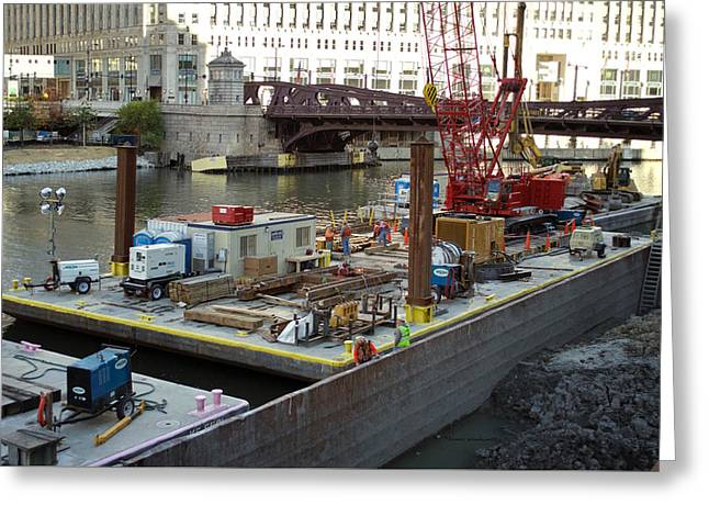 Chicago Construction Barge Pa Greeting Card by Thomas Woolworth