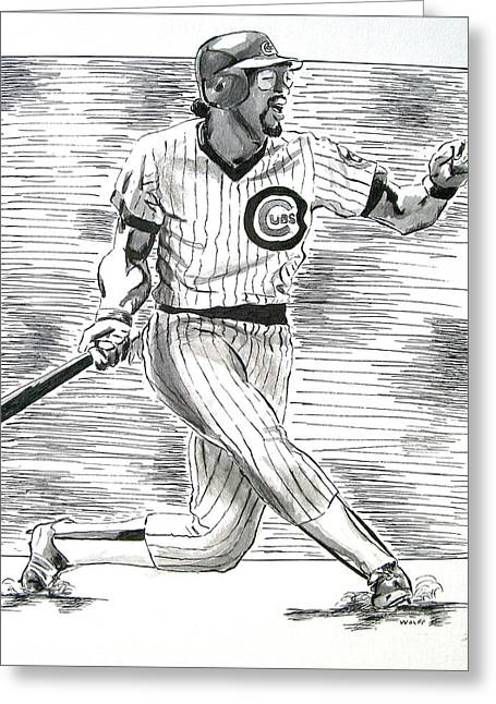 Chicago Cub Leon Durham Greeting Card by Vincent Wolff