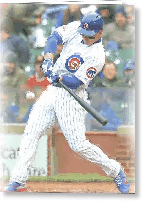 Chicago Cubs Anthony Rizzo Greeting Card by Joe Hamilton