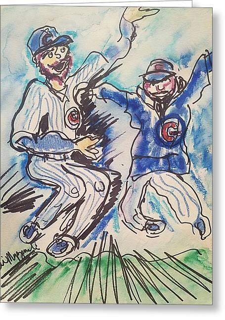 Chicago Cubs Greeting Card by Geraldine Myszenski