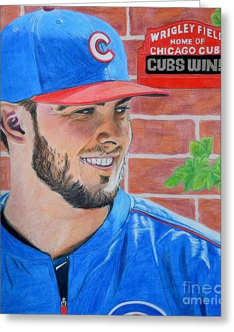 Chicago Cubs Kris Bryant Portrait Greeting Card