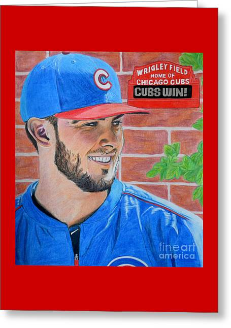 Chicago Cubs Kris Bryant Portrait Greeting Card by Melissa Goodrich
