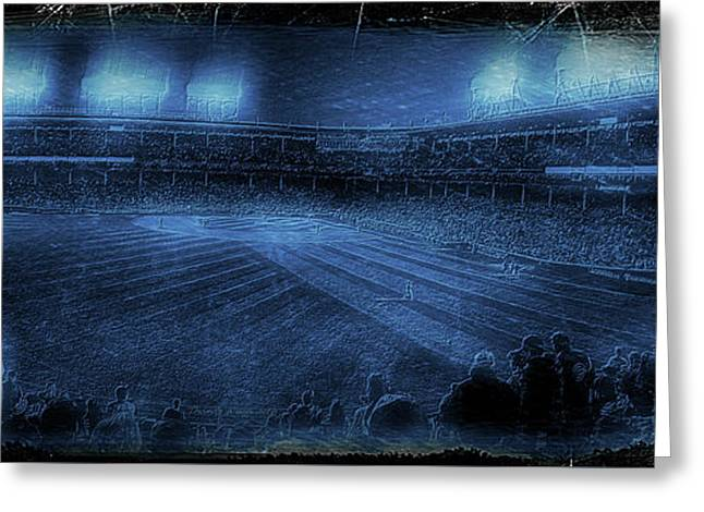 Chicago Cubs Night Game October 8th 2016 Blue Greeting Card by Thomas Woolworth