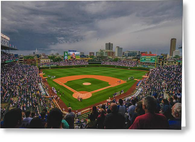 Chicago Cubs Wrigley Field 4 8213 Greeting Card by David Haskett