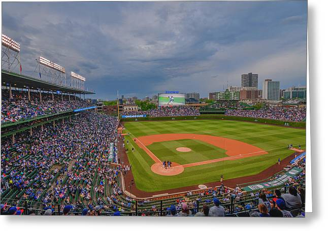 Chicago Cubs Wrigley Field 5 8228 Greeting Card by David Haskett
