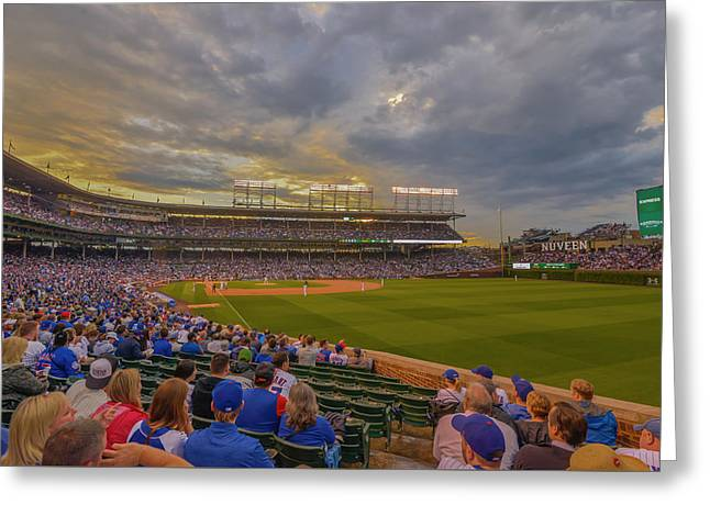 Chicago Cubs Wrigley Field 6 8252 Greeting Card by David Haskett