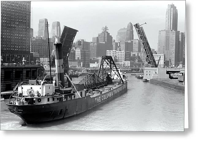 Greeting Card featuring the photograph Chicago Draw Bridge 1941 by Daniel Hagerman