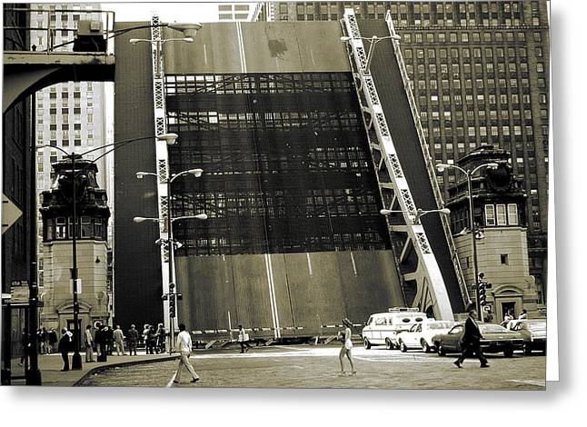 Old Chicago Draw Bridge - Vintage Photo Art Print Greeting Card by Art America Online Gallery