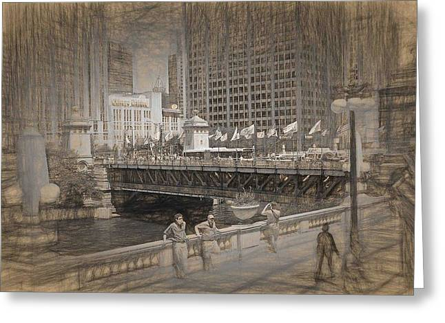 Chicago Dusable Bridge Street Scene Greeting Card