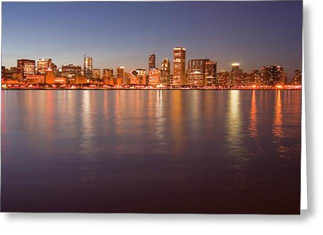 Lake Michgan Greeting Cards - Chicago dusk skyline panoramic  Greeting Card by Sven Brogren