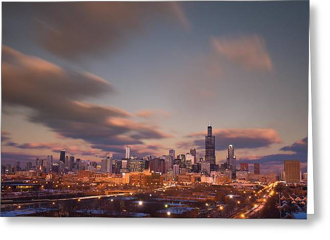 Chicago Dusk Greeting Card