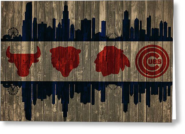 Chicago Flag Barn Door Greeting Card by Dan Sproul