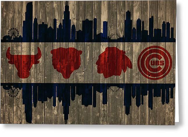 Chicago Flag Barn Door Greeting Card
