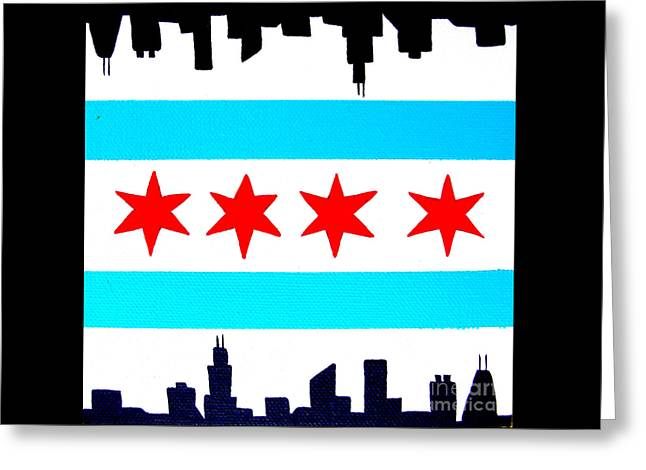Chicago Flag  Greeting Card by Laura Kiro