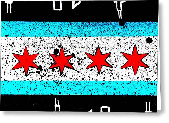 Chicago Flag Night  Greeting Card by Laura Kiro