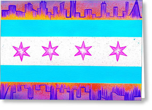 Chicago Flag Pink Greeting Card by Laura Kiro