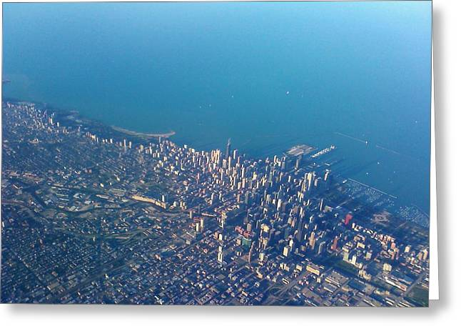 Chicago From Way Up Greeting Card by Jacob Stempky