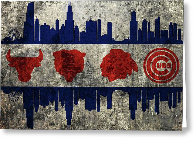 Chicago Grunge Flag Greeting Card