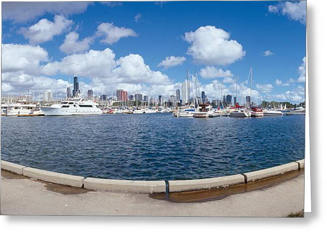 Chicago Harbor, Illinois Greeting Card by Panoramic Images