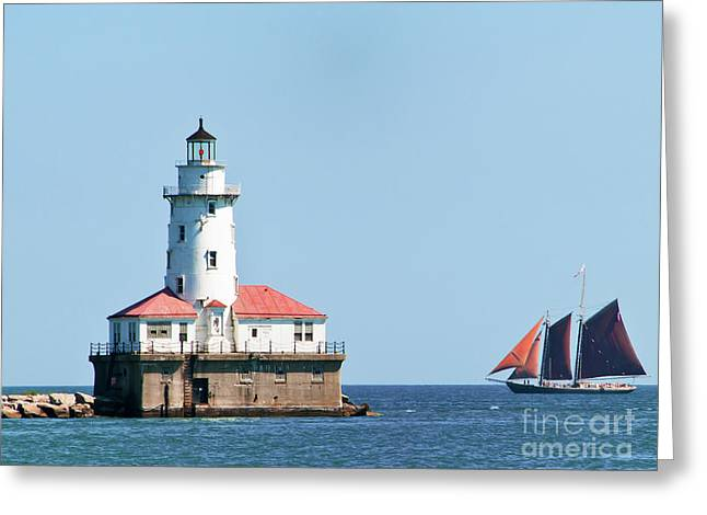 Chicago Harbor Lighthouse And A Tall Ship Greeting Card