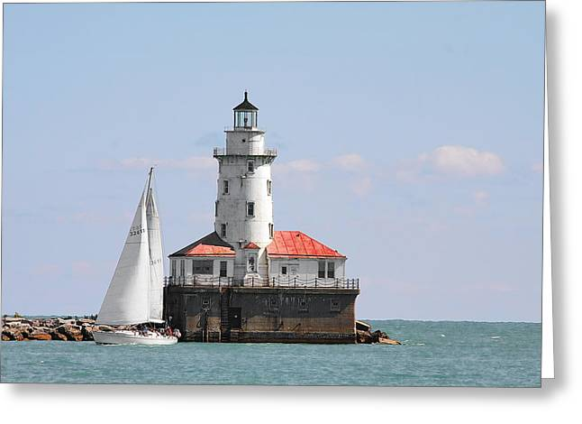 Chicago Harbor Lighthouse Greeting Card by Christine Till