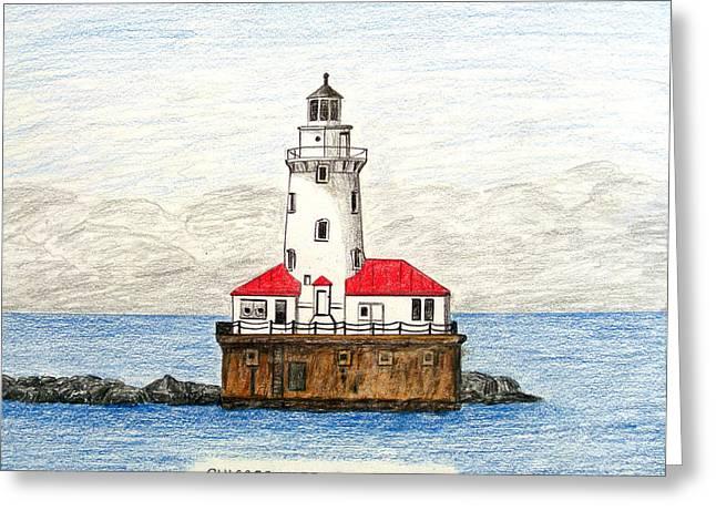 Chicago Harbor Lighthouse Greeting Card by Frederic Kohli