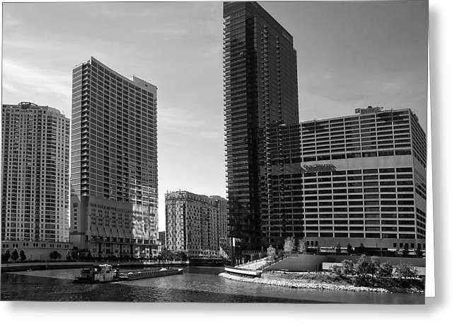 Chicago Heading Up The North River Branch Bw Greeting Card by Thomas Woolworth
