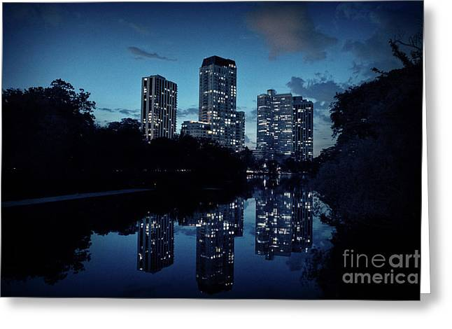 Chicago High-rise Buildings By The Lincoln Park Pond At Night Greeting Card