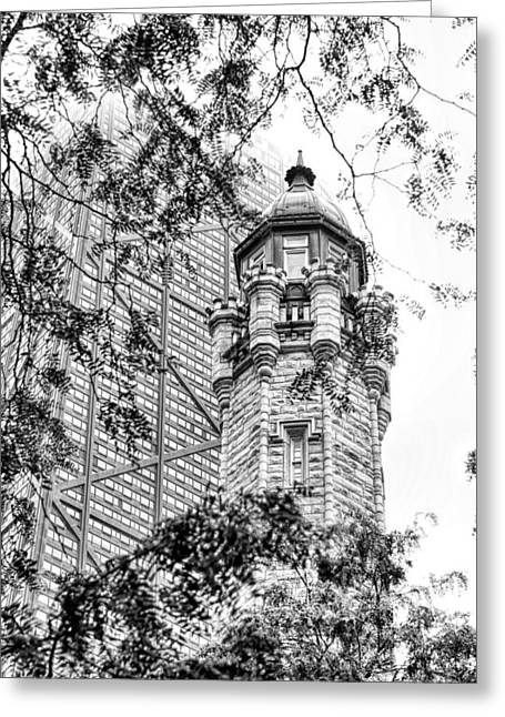 Greeting Card featuring the photograph Chicago Historic Water Tower Fog Black And White by Christopher Arndt