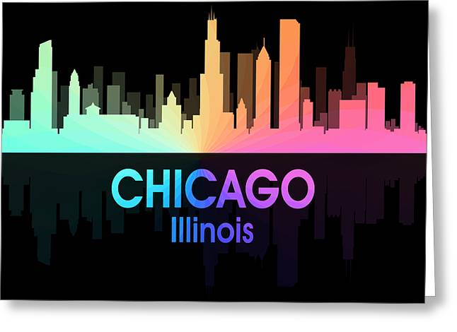 Chicago Il 5 Squared Greeting Card