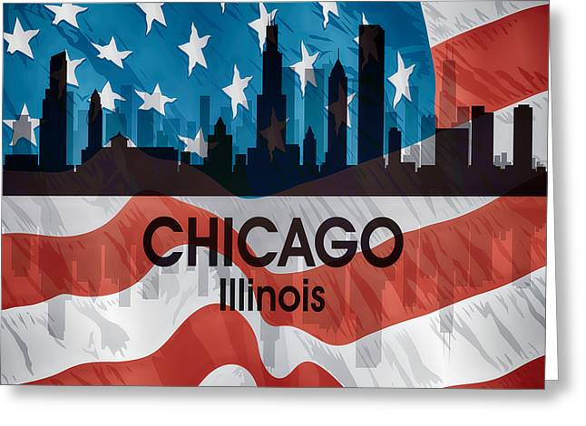 Chicago Il American Flag Squared Greeting Card