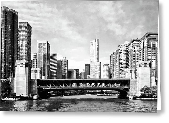 Chicago Il - Lake Shore Drive Bridge Black And White Greeting Card by Susan Savad