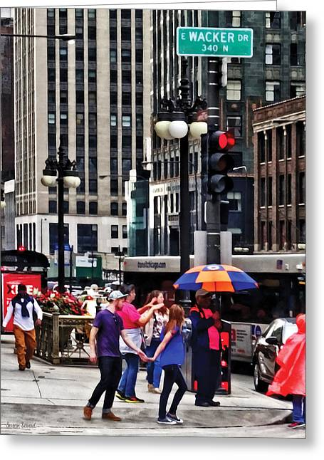 Chicago Il - Rainy Day On E Wacker Drive Greeting Card by Susan Savad