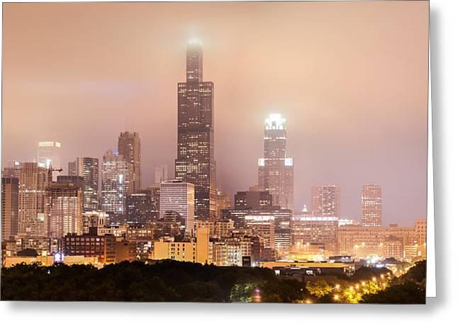 Chicago Illinois Panorama Skyline At Night Greeting Card